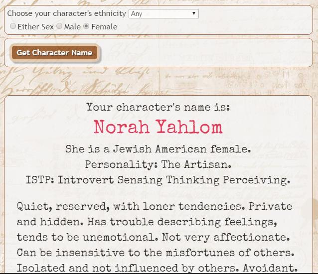 Character name generator