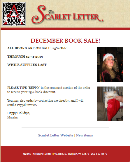The Scarlet Letter Holiday promotions