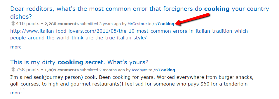 cooking discussions on Reddit