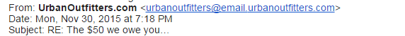 Email from Urban Outfitters