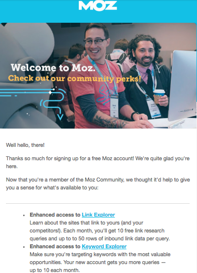 Onboarding MOz welcome emai
