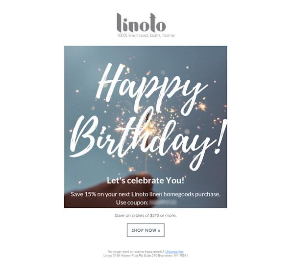 Linoto happy birthday newsletter