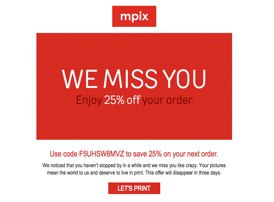 MPIX discount email to inactive subscribers