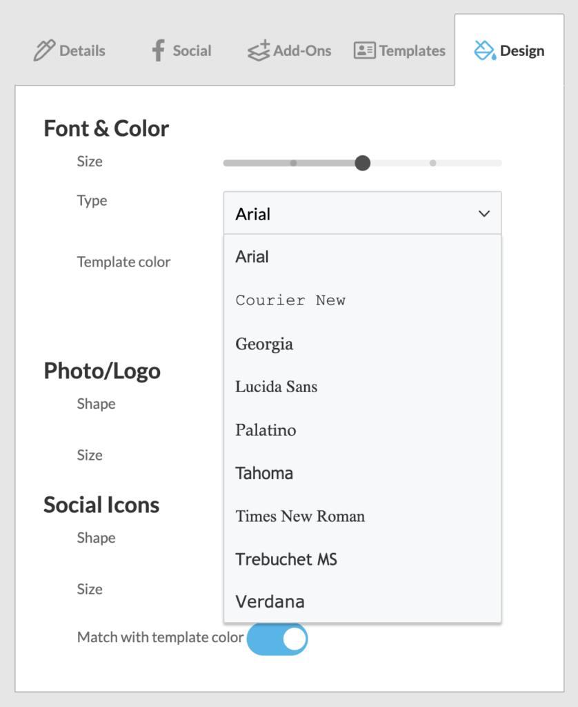 Font menu in WiseStamp email signature generator