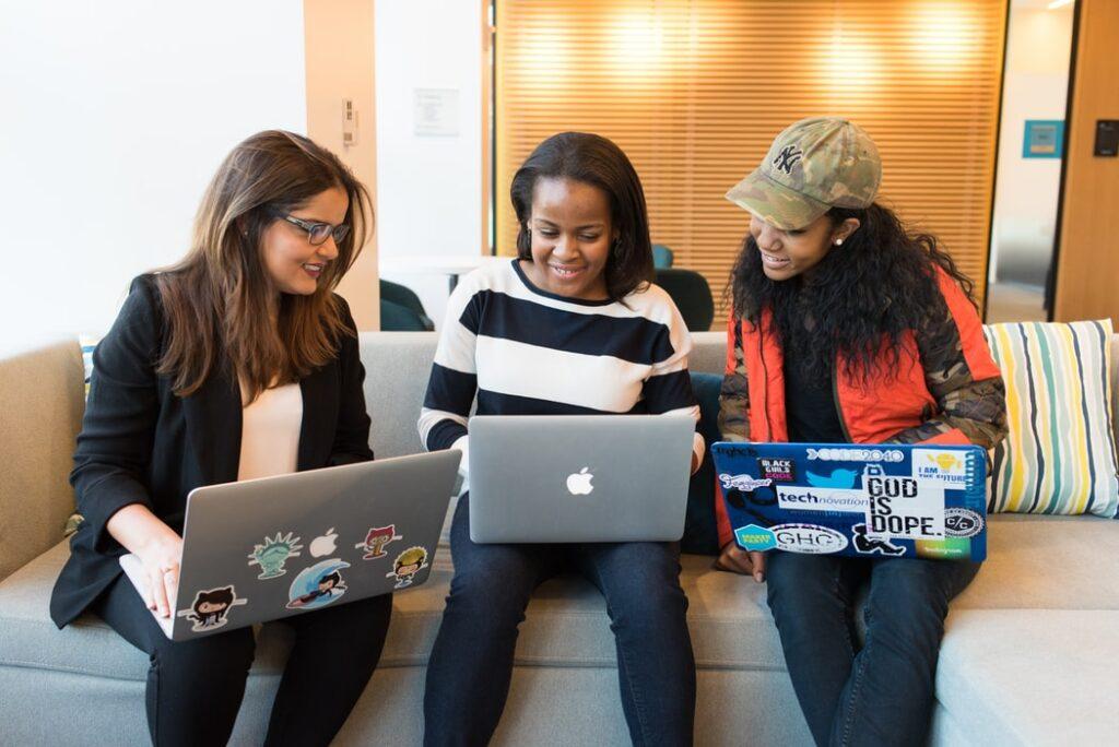 Business women working on laptop