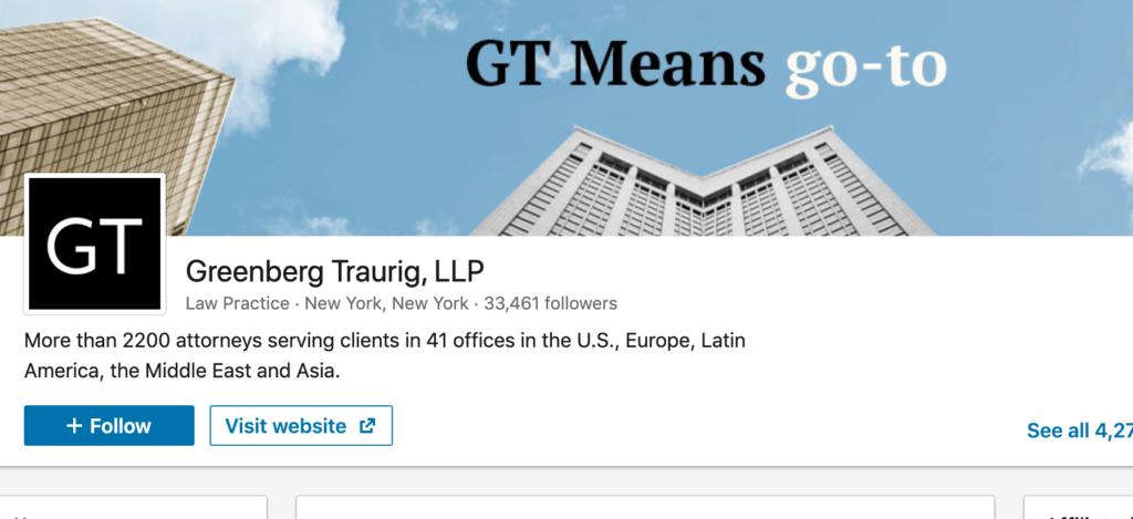 Greenberg Traurig webpage