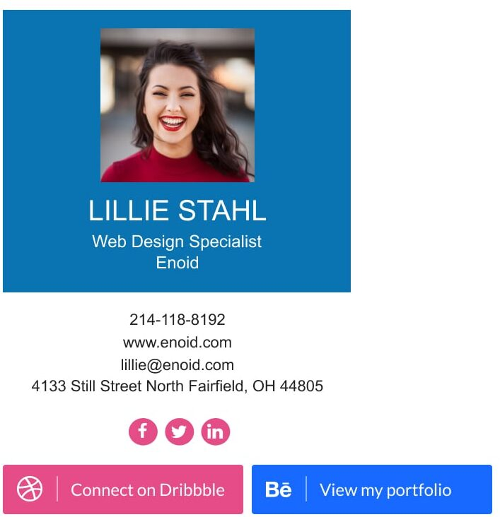 email signature blue background