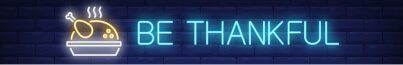 Thankful Thanksgiving turkey neon light banner