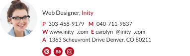Web designer email signature with photo