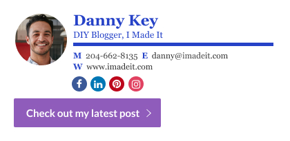 DIY blogger email signature with a custom button