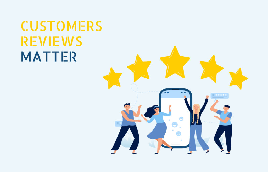 Customer review matter with people dancing and five starts on top of them with a phone in the back round.