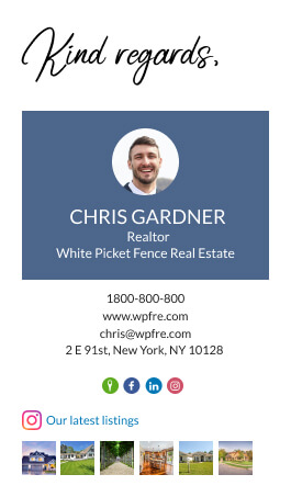 Real estate agent email signature example with instagram gallery