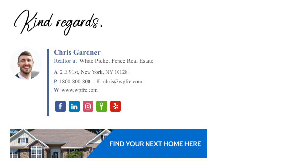 Realtor email signature example with CTA banner