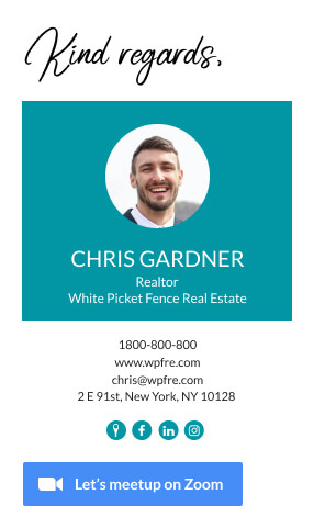 Realtor email signature footer example with zoom button
