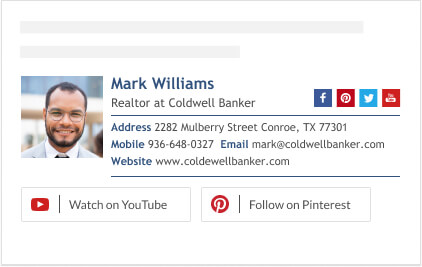 Youtube and Pinterest buttons for realtor signature block