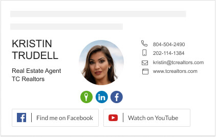 Basic email signature for real estate agents with Social buttons