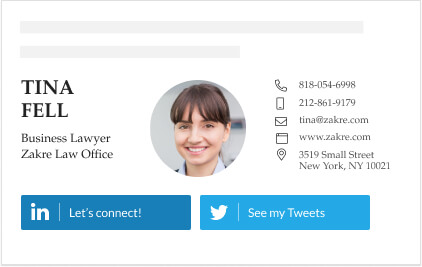 business lawyer signature with linkedin and twitter links