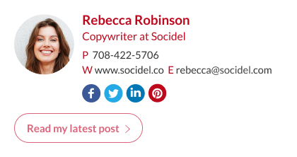 copywrite email signature with custom button