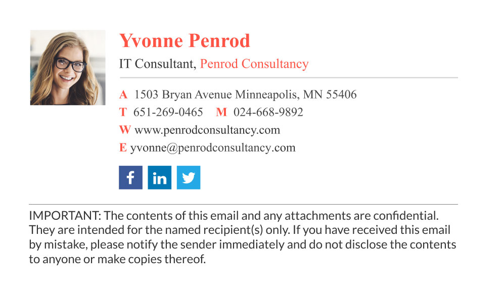 corporate it consultant email signature with disclaimer