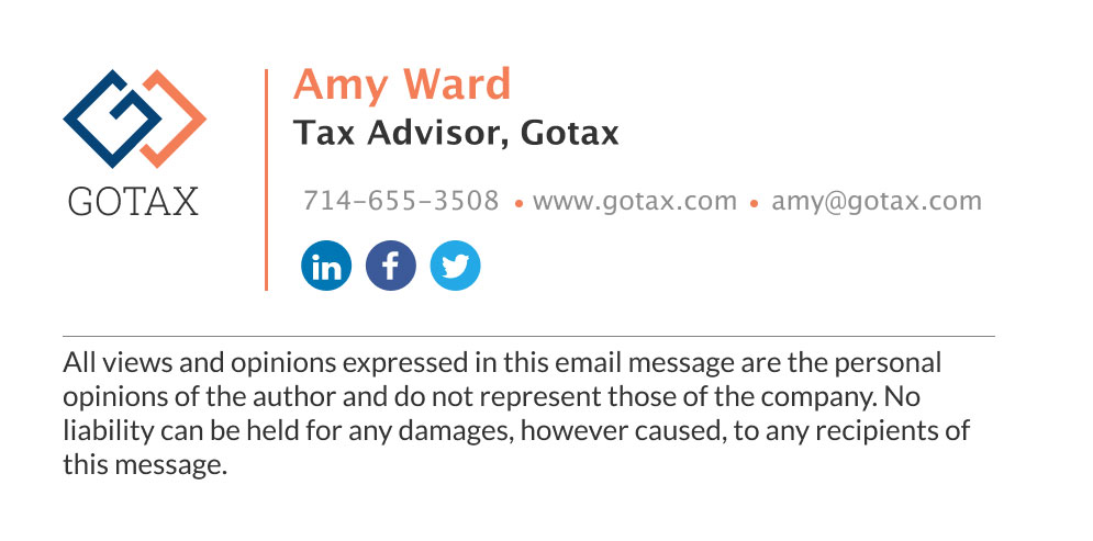 corporate tax advsior email signature with disclaimer