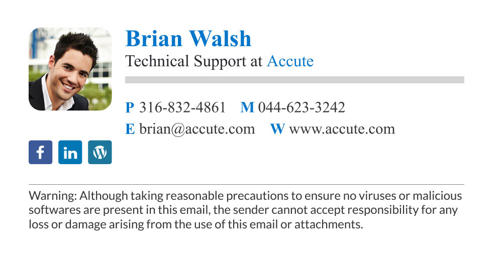 corporate tech support email signature with disclaimer