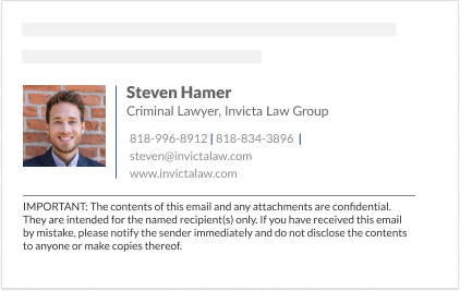 email signature for lawyers with disclaimer