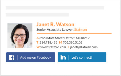 facebook button for lawyer email signature