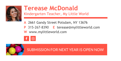 kindergarten teacher email signature with a banner