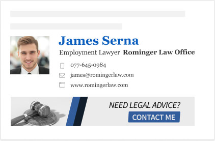 law firm email signature with contact me banner