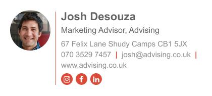 marketing advisor email signature with instagram icon
