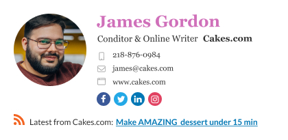online food writer email signature with RSS feed