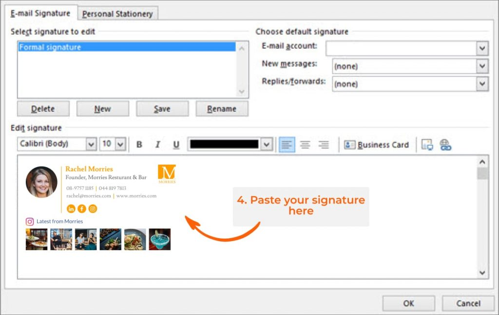 Add outlook signature step 4