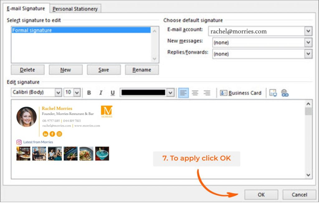 Outlook email signature setting window - add signature step 7
