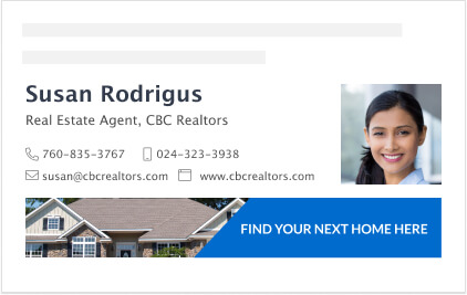 Real estate agent signature block with banner