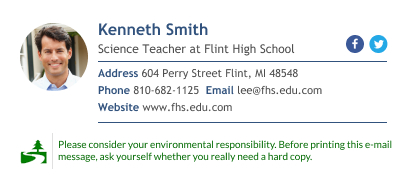 Teacher email signature with green footer