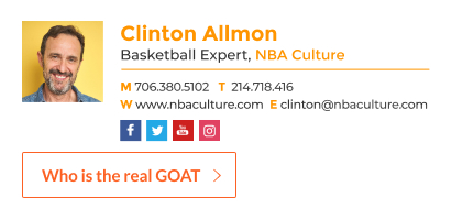 sports blogger email signature with custom button
