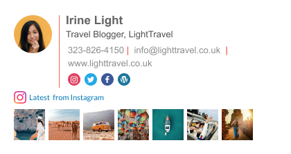 traveler blogger email signature with instagram feed