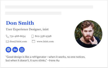 User experience designer email signature
