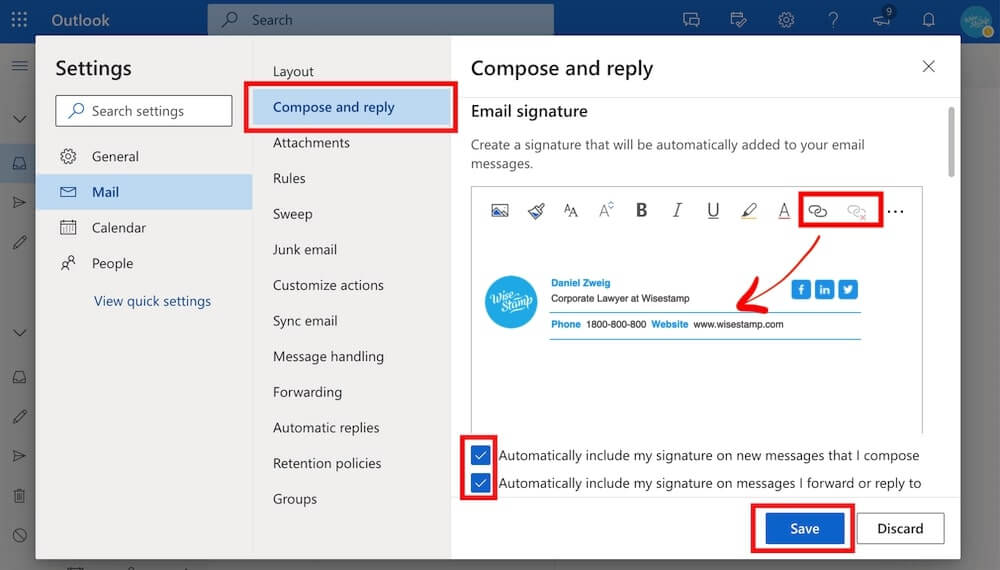 how to add a hyperlink to outlook 365 signature - step 3