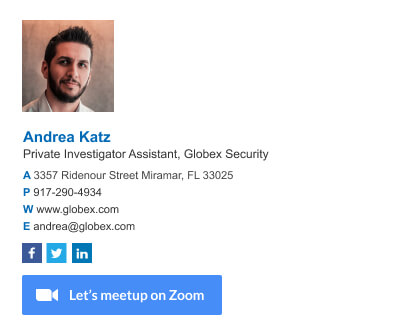 Assistant email signature with Zoom CTA for setting up vertual meetings