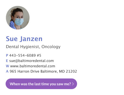 Basic dentist email signature with custom button