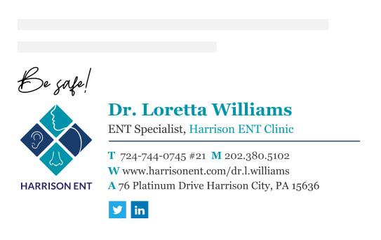 Doctor email signature with a hospital logo and Linkedin icon