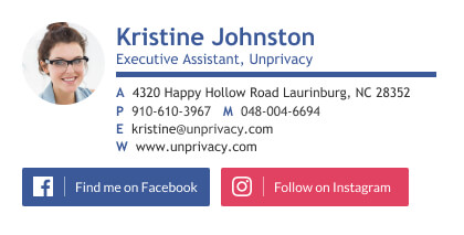 Executive assistant email signature example with Facebook and Instagram buttons