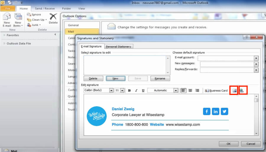 How to add a hyperlink to text or image in Outlook 2010 signature