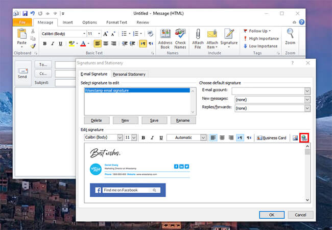 How to adda hyperlink in Outlook email signature
