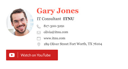 IT consultant email signature with a YouTube button