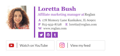 Marketing manager email signature block with Youtube and Instagram buttons