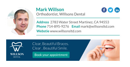 Orthodontist email signature example with social media icons