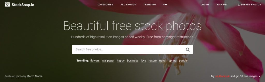 Stock.snap.oi home page