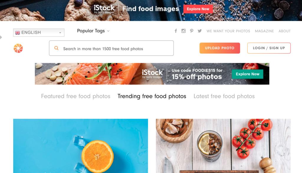 FoodiesFeed homepage